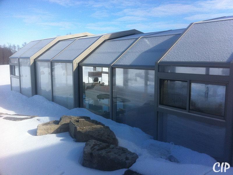 Retractable Pool Enclosure in winter