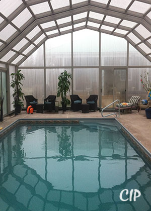 pool enclosure in winter